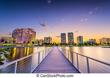 West Palm Beach, Florida, USA downtown skyline on the...