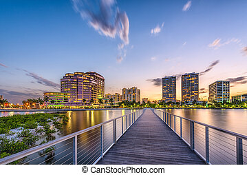 West Palm Beach, Florida, USA skyline on the Intracoasal Waterway.