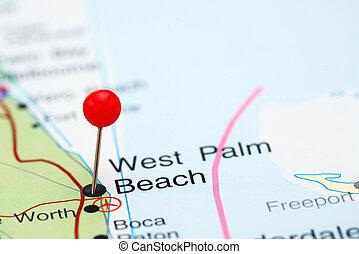 West Palm Beach pinned on a USA map