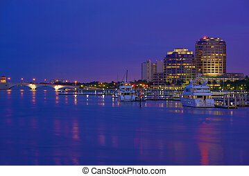 West Palm Beach Skyline - Downtown West Palm Beach at Night,...