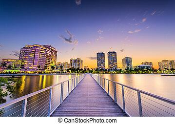 West Palm Beach, Florida, USA downtown skyline on the...