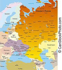 West Russia region  - color map of West Russia region
