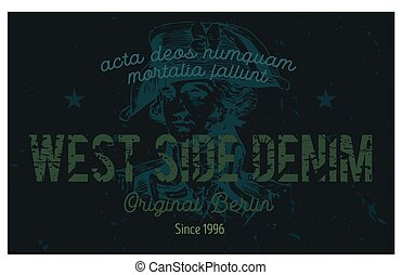 West side denim Berlin clothing tag, with latin words - acta...