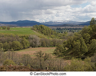 West side of Glen Banchor, with the Cairngorms in the...