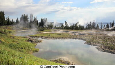 West Thumb Geyser Basin - Crane shot of the West Thumb...