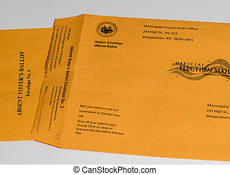 Two envelopes used in West Virginia for absentee or mail-in voting in Presidential election