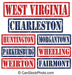 West Virginia Cities stamps - Set of West Virginia cities ...