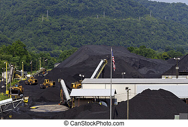 West Virginia Coal Company Terminal - Mounds of coal are...