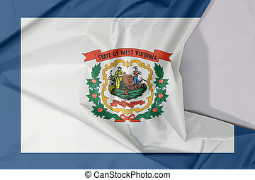 West Virginia fabric flag crepe and crease with white space. A pure white field bordered on four sides by a stripe of blue with the coat of arms of West Virginia in the center.