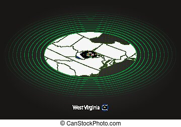 West Virginia map in dark color, oval map with neighboring US states.