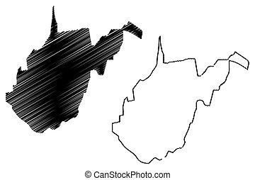 West Virginia map vector