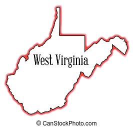 West Virginia Outline Map over a white background