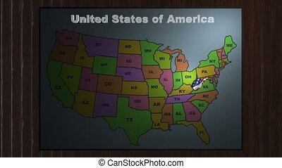 West Virginia pull out from USA states abbreviations map