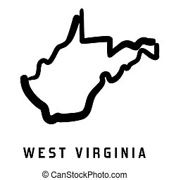 West Virginia simple logo. State map outline - smooth ...