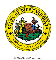 Seal of American state of West Virginia; isolated on whiite background.