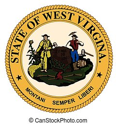 The state seal of West Virginia over a white background