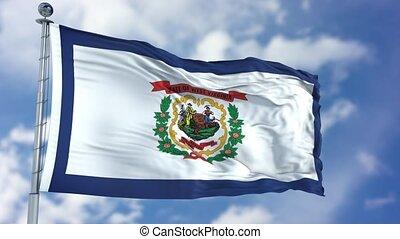 West Virginia Waving Flag - West Virginia (U.S. state) flag...