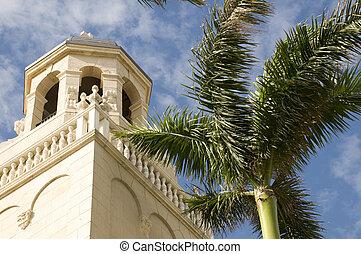 westelijk palm strand, kerk