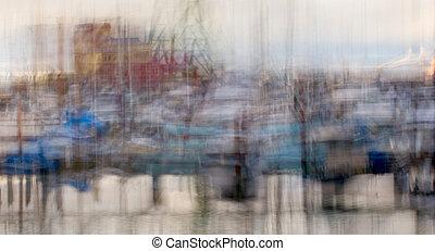 westen, anlegeplatz, becken, impressionistisch