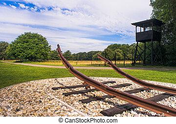 westerbork, 运输, 营房, netherland, 细节, 片段