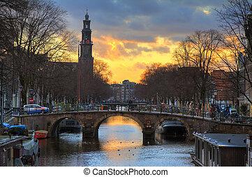Westerkerk sunset bridge