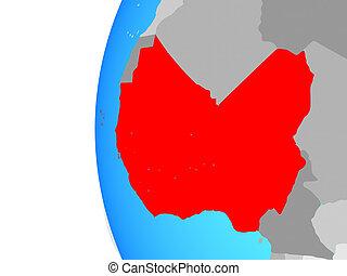 Western Africa on globe