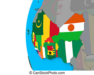Western Africa with flags on 3D globe