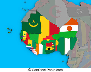 Western Africa with flags on 3D map