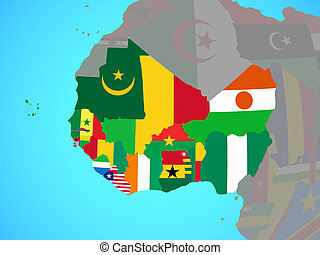 Western Africa with flags on map