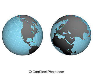 western and east hemispheres of earth with the inflicted net on a white background