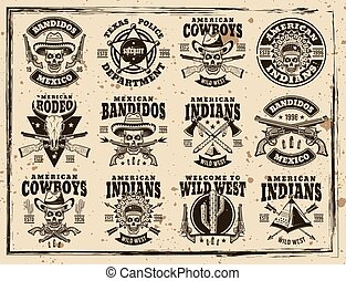 Western and wild west set of vector emblems