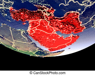 Satellite view of Western Asia from space at night. Beautifully detailed plastic planet surface with visible city lights. 3D illustration. Elements of this image furnished by NASA.