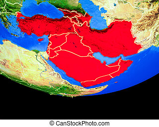 Western Asia from space on Earth