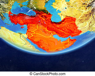 Western Asia on realistic model of planet Earth with country borders and very detailed planet surface and clouds. 3D illustration. Elements of this image furnished by NASA.