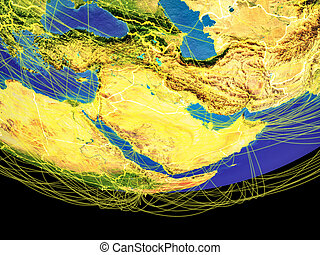 Western Asia from space on Earth with country borders and lines, concept of communication, travel, connections. 3D illustration. Elements of this image furnished by NASA.