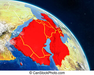 Western Asia from space on realistic model of planet Earth with country borders and detailed planet surface and clouds. 3D illustration. Elements of this image furnished by NASA.