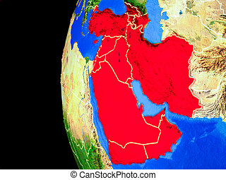 Western Asia from space on realistic model of planet Earth with country borders and detailed planet surface. 3D illustration. Elements of this image furnished by NASA.