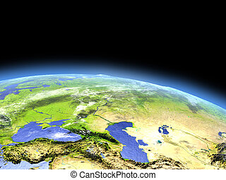 Western Asia as seen from earth's orbit in space on bright day. 3D illustration with detailed planet surface. Elements of this image furnished by NASA.