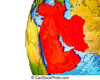Western Asia highlighted on 3D Earth with visible countries and watery oceans. 3D illustration.