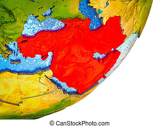 Western Asia on 3D model of Earth with water and divided countries. 3D illustration.