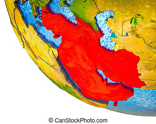 Western Asia on model of Earth with country borders and blue oceans with waves. 3D illustration.
