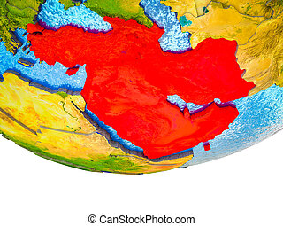 Western Asia on 3D Earth with divided countries and watery oceans. 3D illustration.