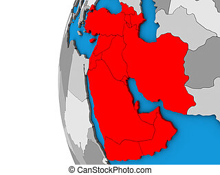 Western Asia on blue political 3D globe. 3D illustration.
