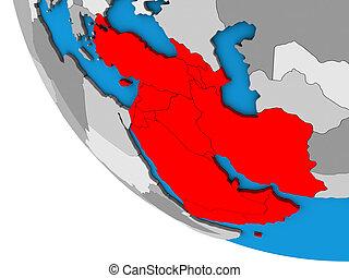 Western Asia on simple 3D globe. 3D illustration.