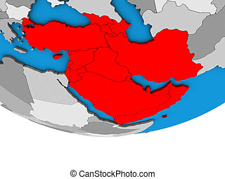 Western Asia on simple political 3D globe. 3D illustration.