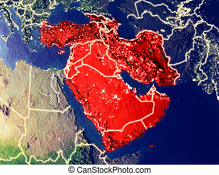 Western Asia on Earth at night