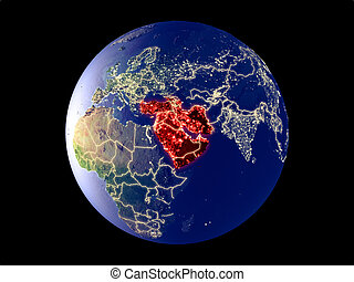 Western Asia from space on model of planet Earth with city lights. Very fine detail of the plastic planet surface and cities. 3D illustration. Elements of this image furnished by NASA.