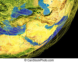 Western Asia from space on planet Earth with country borders and international connections representing travel, communication. 3D illustration. Elements of this image furnished by NASA.