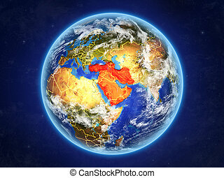 Western Asia from space. Planet Earth with country borders and extremely high detail of planet surface and clouds. 3D illustration. Elements of this image furnished by NASA.