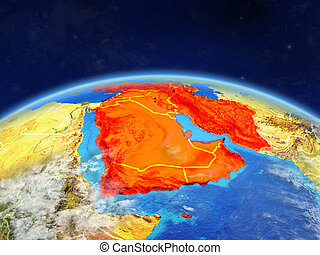 Western Asia on planet Earth with country borders and highly detailed planet surface and clouds. 3D illustration. Elements of this image furnished by NASA.